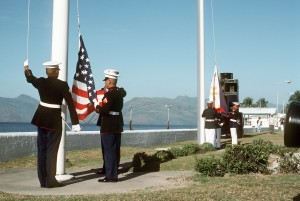 Marines shift American colors to Philippine as Subic Bay Naval Station is handed over back to its host country in 1992.