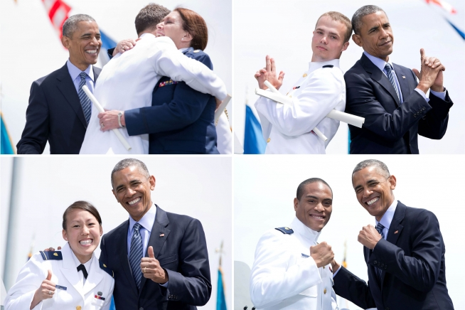 President Obama mugs it up with newly commissioned Coast Guard officers on May 20 at the USCG Academy in New London, Conn.