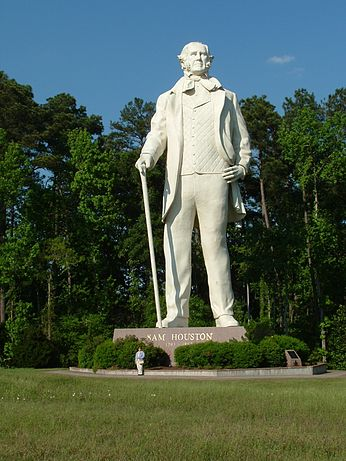 """Big Sam"" Houston towers over Interstate 45 south of Huntsville, Texas. One can see her a tall Texan who loved America, not like those who want to destroy both."