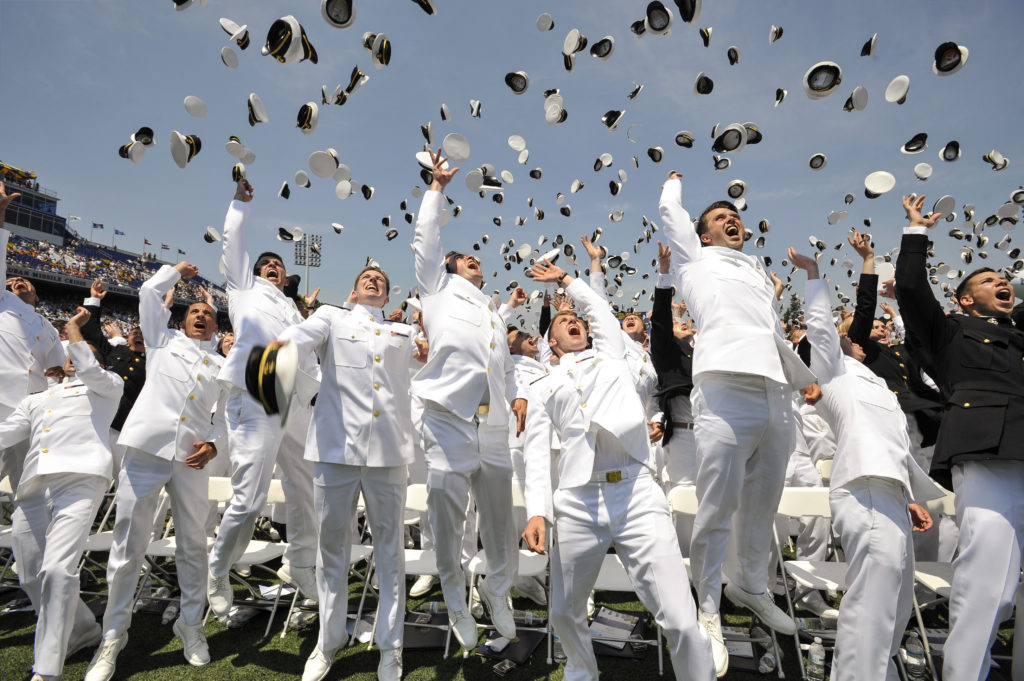 160527-N-SQ432-026 ANNAPOLIS, Md. (May 27, 2016) -- Newly commissioned Navy Ensigns and Marine 2nd Lieutenants from the U.S. Naval Academy Class of 2016 throw their midshipmen covers in the air at the end of their graduation and commissioning ceremony May 27 at the Navy-Marine Corp Memorial Stadium. The U.S. Naval Academy commissioned 788 Ensigns into the U.S. Navy and 256 2nd Lieutenants into the U.S. Marine Corp. (U.S. Navy Photo by Mass Communication Specialist Second Class Jonathan L. Correa/RELEASED)